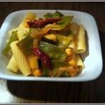 french peas, tomatoes and zucchini vegan pasta