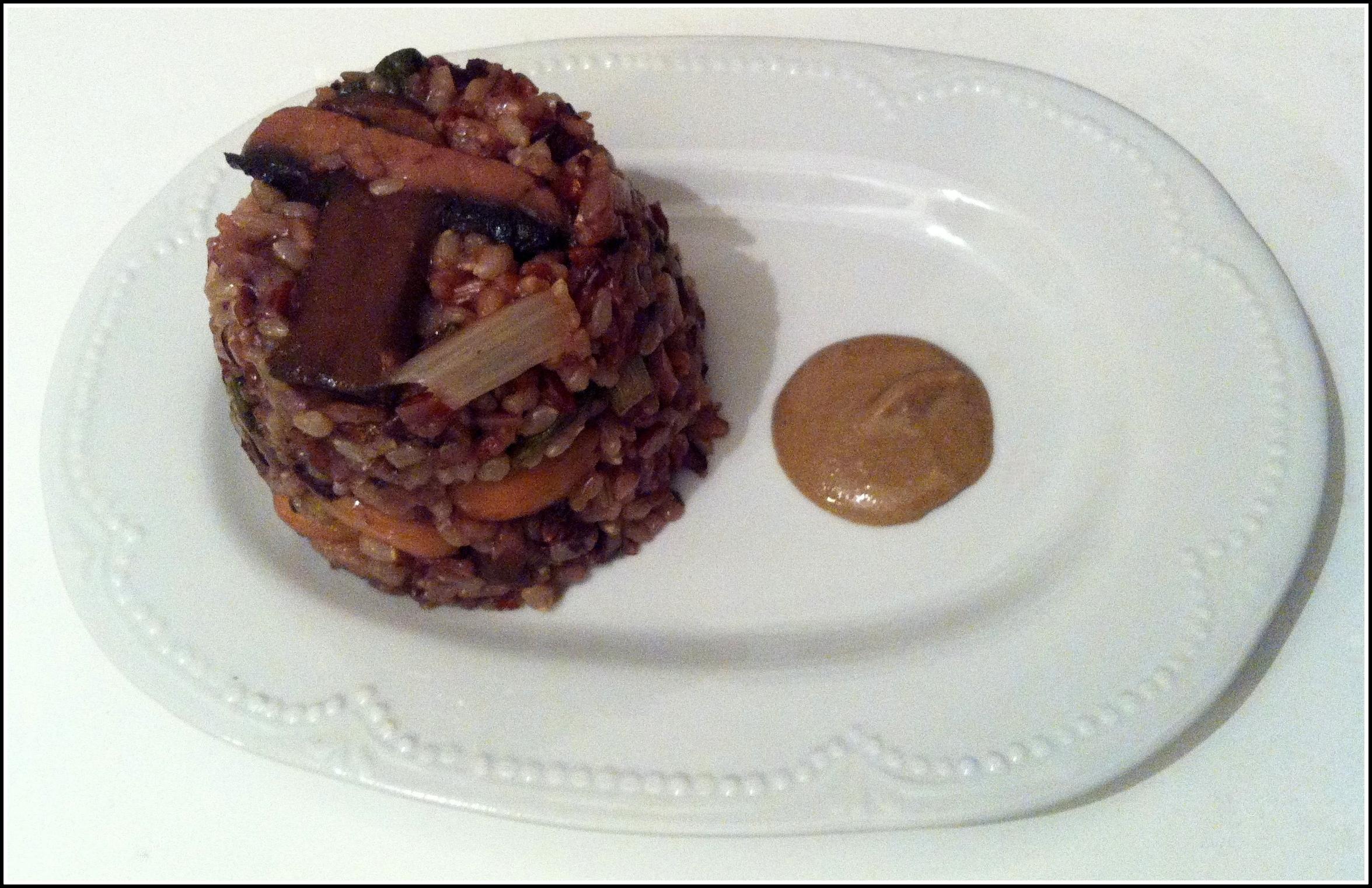 Wild rice with mushrooms and swisschard .vegan and gluten free. recipe by yaeli shochat