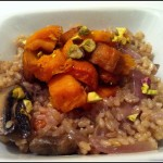 Vegan Brown Rice with carrots sweet potatoes pumpkin and mushrooms