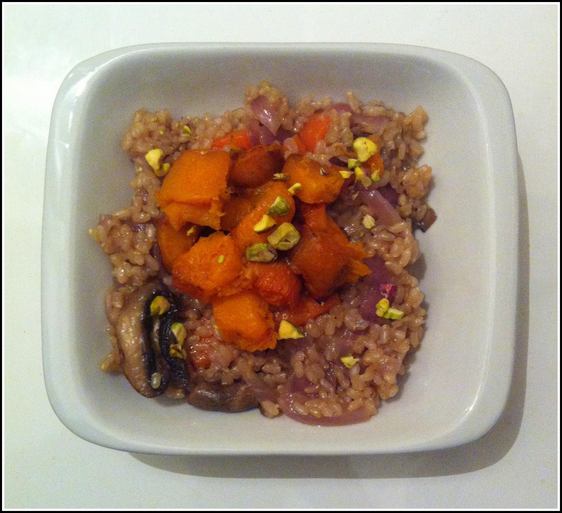 Vegan Brown Rice with carrots sweet potatoes pumpkin and mushrooms