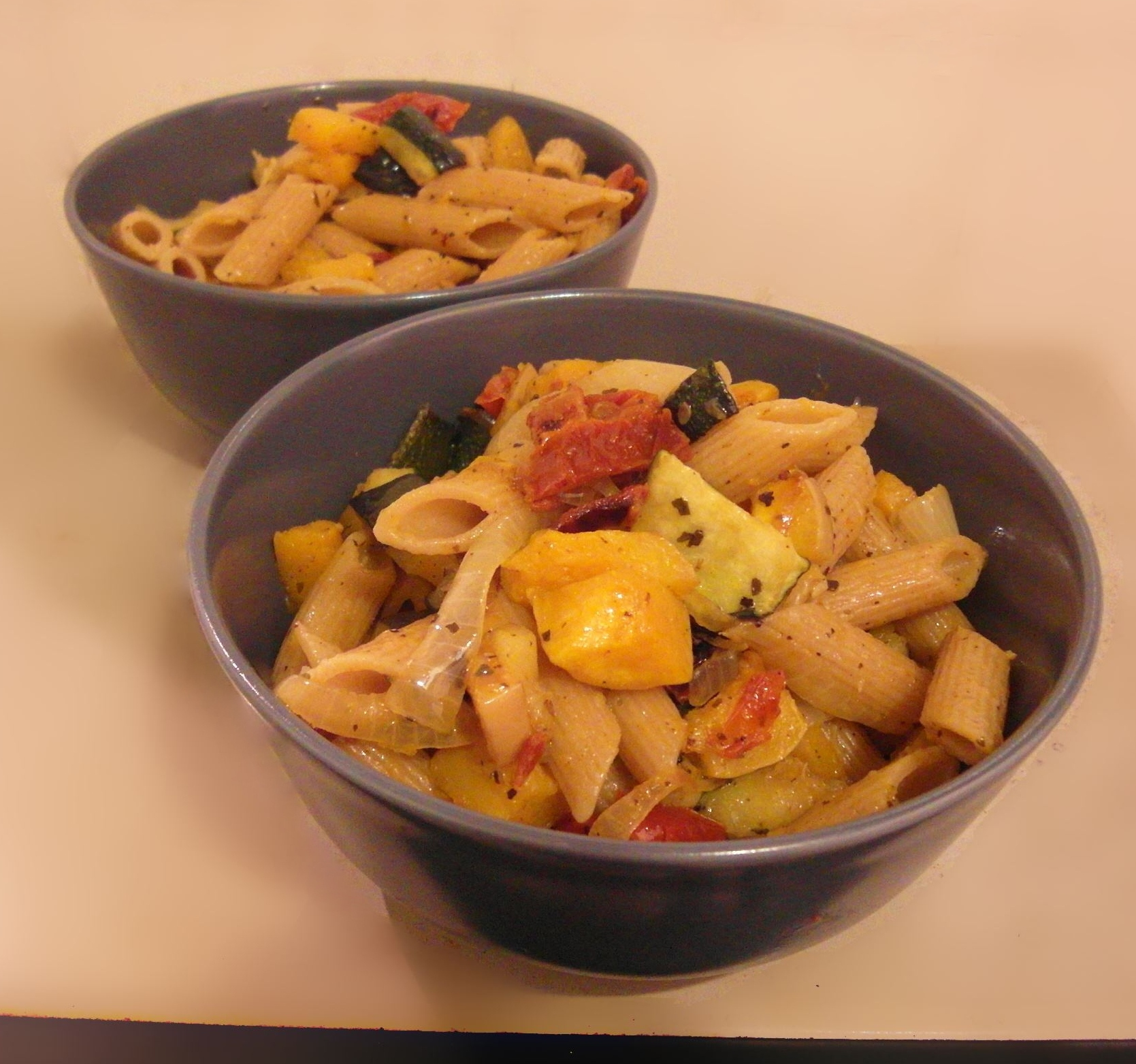 Antipasti Pasta - butternut squash and zucchini - vegan recipes by Vegan Slaughterer Yaeli Shochat