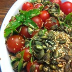 Cherry Tomato - Pumpkin seeds - Sesame seed Salad with fresh Basil Vegan Recipes by Vegan Slaughterer Yaeli Shochat